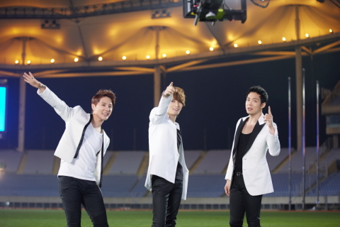 JYJ shooting the music video of Incheon Asiad Song ONLY ONE in Munhak stadium, Incheon. (Photo: Business Wire)