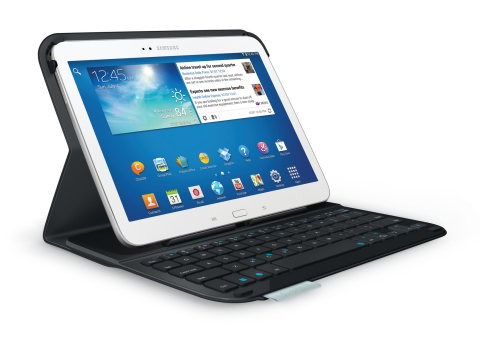 The Logitech Ultrathin Keyboard Folio for Samsung Galaxy Tab 3 10.1 features a built-in Bluetooth ke ...