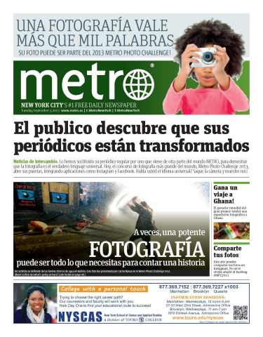 The cover of today's Metro celebrates pictures as a Universal Language understood by all. (Photo: Business Wire)