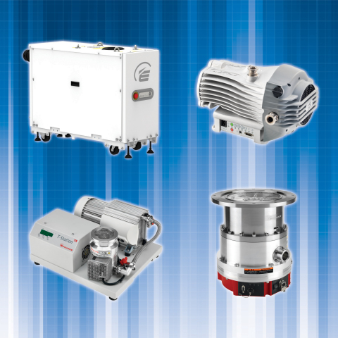 Edwards' pumps (clockwise, from top left), GXS, nXDS, STP and T-Station 75 (Photo: Business Wire)