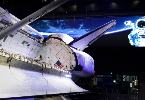 Delta's 20-foot tall, 110-foot wide LED display enables a high-resolution simulation of the Atlantis orbiting Earth. (Photo: Business Wire)