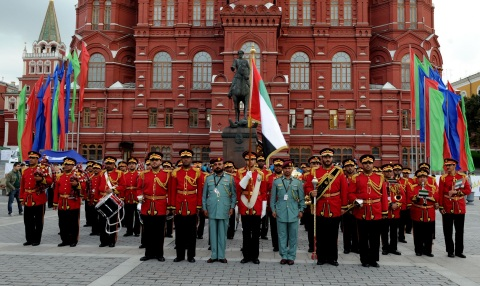 The Abu Dhabi Police Band in Moscow during its daily show (Photo: Business Wire)