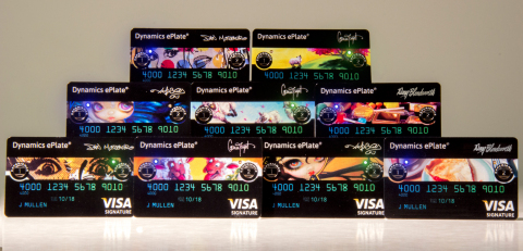 """Dynamics Inc. launches new """"Gallery"""" of exclusive artwork from artists Doug Bloodworth, Dan Monteavaro, Jasmine Becket-Griffith and Conni Togel, available only to ePlate(R) cardholders with special artistic editions of the electronic ePlate(R) credit card, featuring the Industry's first fully branded magnetic stripe. (Photo: Business Wire)"""