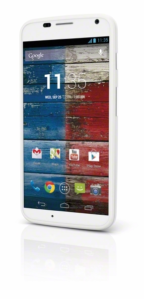 Moto X(TM) available at Sprint beginning Friday, Sept. 6 with a Lifetime Unlimited Guarantee. Available in two color options - woven white (shown) and woven black. (Graphic: Sprint)