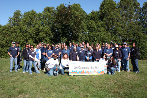 Blue Cross Blue Shield of Massachusetts associate volunteers, known as BlueCrew, group together for  ...