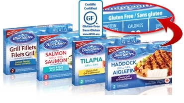 BlueWater Seafoods, a Canadian leader in frozen prepared seafood, is proud to announce that their Grill Fish line of products have been certified as gluten free by the Gluten-Free Certification Organization. BlueWater Seafoods offers nine varieties of gluten free Grill Fish which are lightly seasoned and flame-grilled with real herbs and spices, and are sourced responsibly under BlueWater's Trusted Catch(TM) seafood sustainability program. (Photo: Business Wire)