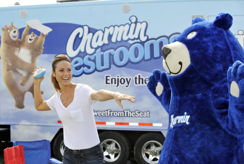 Stacy Keibler and the Charmin Bear have some game time fun while The Charmin Relief Project helps br ...
