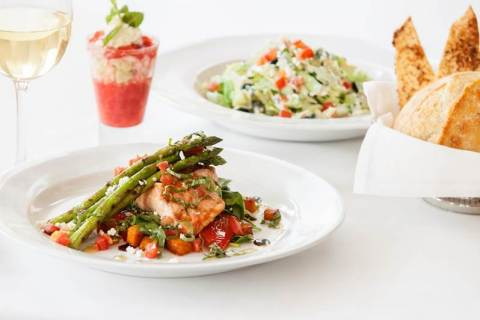 BRIO Tuscan Grille's Grilled Salmon Fresca with grilled asparagus, sweet potatoes, spinach, roasted  ...