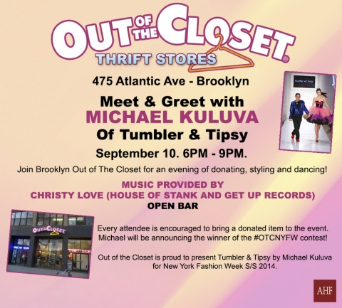 Join us Tuesday, September 10 from 6 - 9 PM at the Out of the Closet thrift store in Brooklyn (475 Atlantic Ave.) as we celebrate New York Fashion Week with donated style! (Graphic: Business Wire)