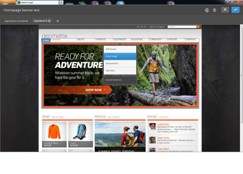 Browse and click anywhere to create unlimited variations of content directly on a Web page, including offer and image swapping, as well as color, text and design changes. (Photo: Business Wire)