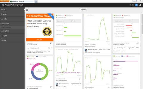 Access all Adobe Marketing Cloud solutions, including the new Adobe Target, from one centralized platform with a social-enabled interface. Through the interface, high-value data, images, documents and insights can be shared across solutions. (Photo: Business Wire)