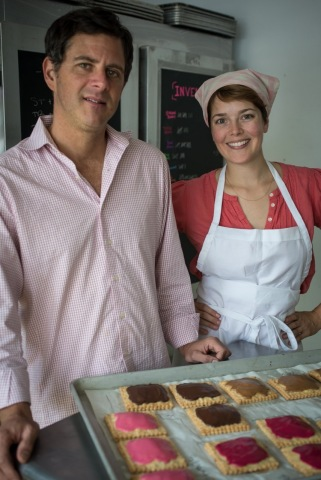 Magpies Bake Shop owners Meghan Ritchie and Paul Jones create delicious, jam-filled tarts in their New York bakery. Photo credit: Claire Flack.
