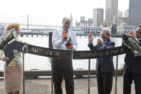 Autodesk President and CEO Carl Bass and San Francisco Mayor Ed Lee cut the ribbon to open the new A ...