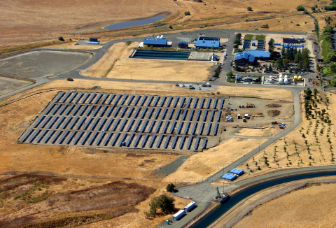 A 1.1-MW solar system from SolarWorld now powers the North Bay Regional Water Treatment plant in Northern California. Photo courtesy of the city of Vacaville, Calif.