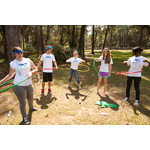 Teen Health Ambassadors (l-r) Kaitlyn Pace, Brandon Bradford, Jasmin Rhea, Mikayla Carmichael and Alexis Pless from Santa Rosa participate in hula-hoop competition as part of Florida 4-H and UnitedHealthcare Eat4-Health partnership at Camp Cherry Lake. (Photo: Dawn McKinstry)