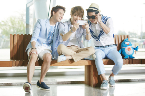 K-pop trio JYJ enjoying the video of the Incheon Asiad song 'Only One' uploaded on social media (Pho ...