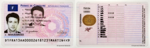 French electronic driving license, copyrights Imprimerie Nationale