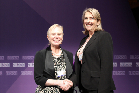 From left: Ann Cairns, president, International Markets at MasterCard and Ruth Goodwin-Groen, managi ...