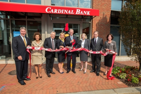Attending the ribbon cutting ceremony at the new Cardinal Bank Georgetown Banking Office are (L-R): ...
