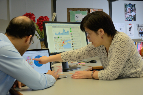 Tong Sun (right), who manages the Xerox Scalable Data Analytics Research Lab in Webster, NY, works w ...