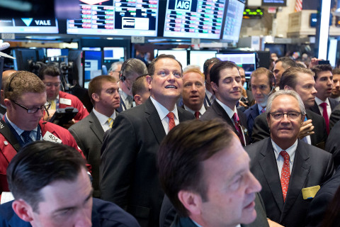 Volaris CEO Enrique Beltranena in the center of the trading crowd as Volaris' stock opens on the NYS ...
