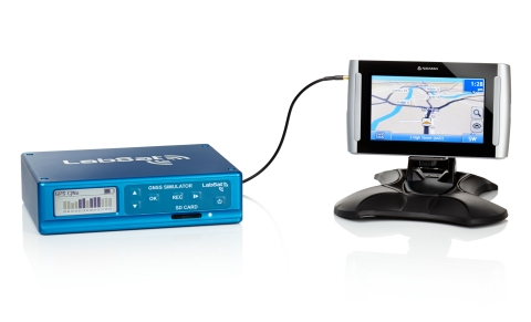 LabSat3 GNSS Simulator replaying raw data into a navigation device (Photo: Business Wire)