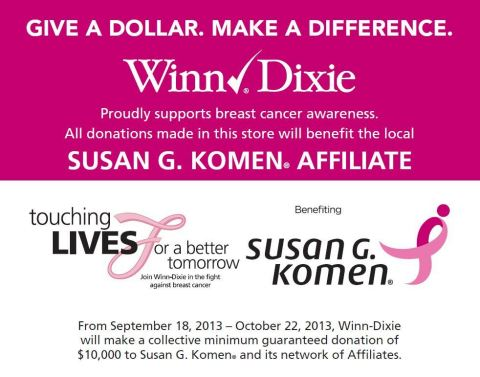 Now through Oct. 22, 2013, Winn-Dixie encourages customers to donate at any store register, directly benefitting the local Komen Affiliates in communities served by Winn-Dixie through the grocers Give a Dollar. Make a Difference campaign (Graphic: Business Wire)