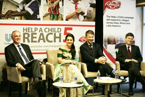 From L to R: Paul Polman, CEO Unilever, Kajol, distinguished Indian actress, Karl Hofmann, President ...