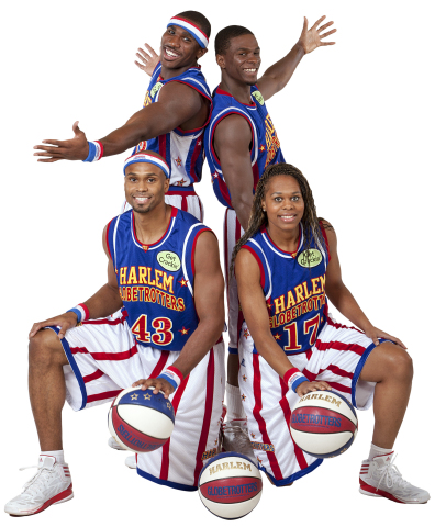 The Harlem Globetrotters' 2014 Rookie Class features: (Standing L-R) Thunder Law, Flip White (Kneeling L-R) Hawk Thomas, Sweet J Ekworomadu. (Photo: Business Wire)