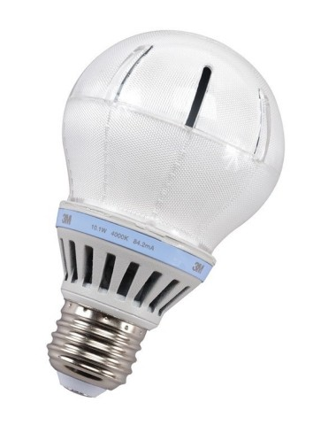 The new 3M LED Advanced Light for Enclosed Commercial Applications recreates the bright, even glow of an incandescent bulb, but uses up to 80 percent less energy and can last up to 25 years, with a potential savings of up to $140 of electricity over a single bulb's lifetime. (Photo: 3M)