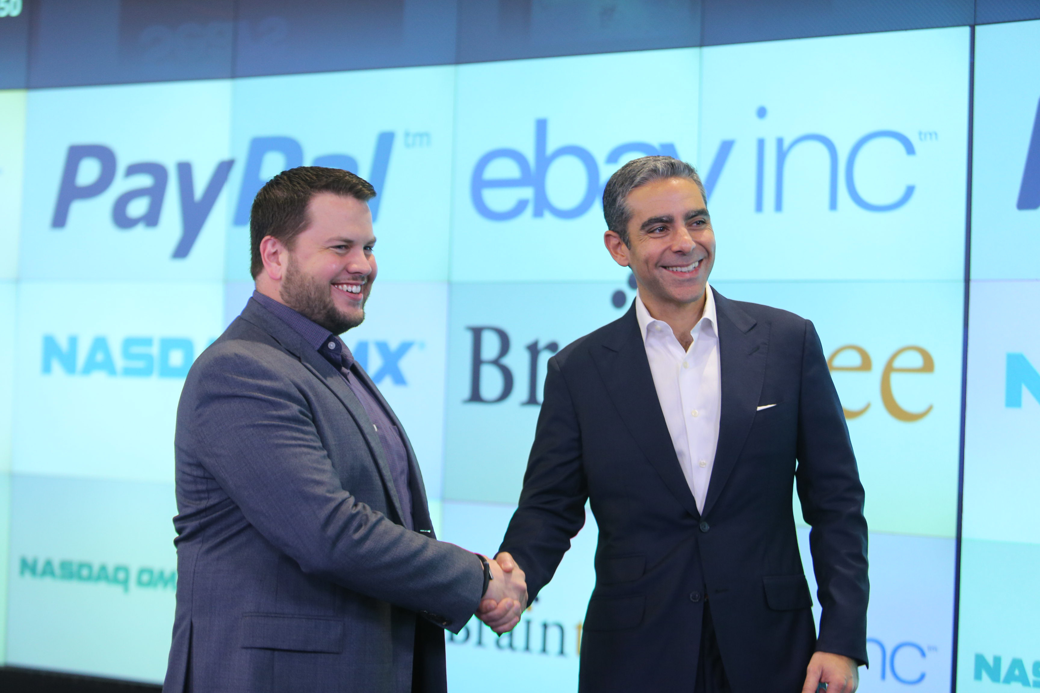 Bill Ready, CEO of Braintree and David Marcus, President of PayPal at the NASDAQ MarketSite in New York City. EBay Inc. announced that its PayPal unit plans to acquire Braintree, an innovative global payment platform. (Photo: Business Wire)