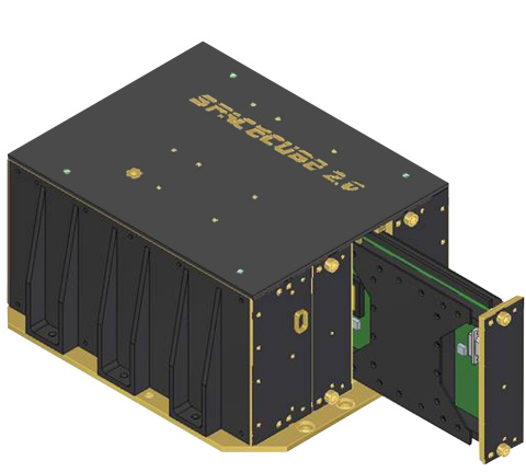 This illustration of NASA's SpaceCube 2.0 Hybrid Science Data Processor (Flight Model) shows the slo ...