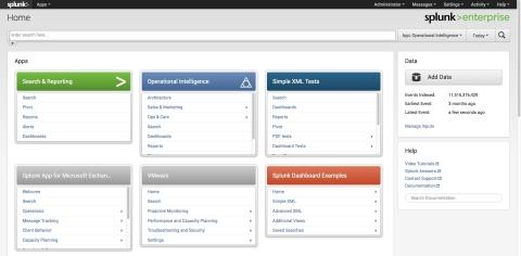 Splunk Enterprise 6: Home Screen (Graphic: Business Wire)