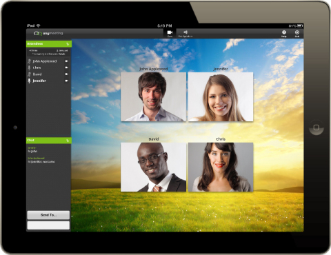 Four-way video call using AnyMeeting on Upware by Comcast Business. (Photo: Business Wire)