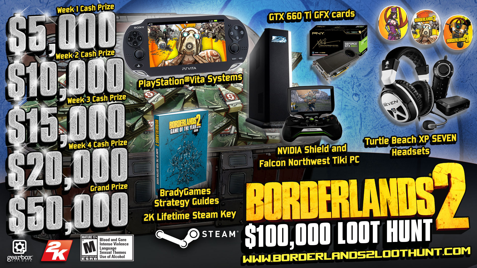 For the Vault Hunters interested in real-life loot, the Borderlands 2 $100,000 Loot Hunt starts this Friday, October 11, 2013 at 11:00 a.m. EDT. (Graphic: Business Wire)