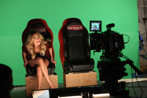 "In this image released by HOT POCKETS® brand sandwiches on Tuesday, Oct. 8, 2013 - Kate Upton is seen on the set of the ""You Got What I Eat"" music video in Los Angeles; visit hotpockets.com/HotterPockets. (Photo: Business Wire)"