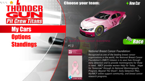 """Ingersoll Rand's Thunder Gun Pit Crew Titans mobile app, which allows users to experience a virtual racing pit stop and compete against their friends, features the """"Team Breast Cancer Awareness"""" pink car throughout the month of October. (Graphic: Business Wire)"""