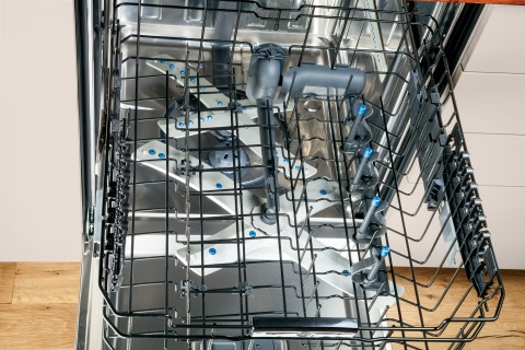 The new GE Profile(TM) Series dishwasher with a stainless steel interior features 54 percent more cl ...