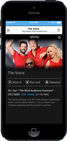 'See It' Enables Users to Watch, Record and Set Reminders from The Voice's Twitter Card (Photo: Business Wire)
