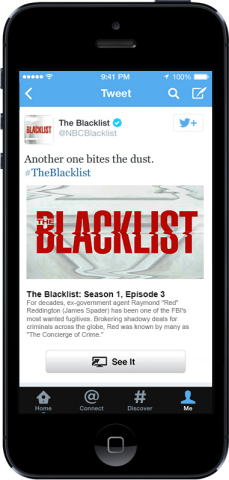 A Twitter Card for NBC's The Blacklist with 'See It' button (Photo: Business Wire)