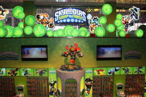 """NEW YORK, NY - OCTOBER 13: In this photo distributed by Activision Publishing, Inc., fans flock to the Skylanders SWAP Force boutique inside Toys""""R""""Us Times Square in New York City during the Skylanders SWAP Force launch event on Oct. 10, 2013. Skylanders SWAP Force launches today in North America."""