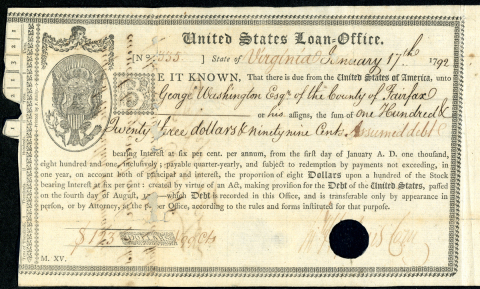 """George Washington, First President of the United States. U.S. Federal Bond Signed. January 17, 1792. 6""""x18."""" Issued by the United States Loan Office. Payable to """"George Washington, Esqr."""" This is considered the first loan issued under Alexander Hamilton's plan for the federal assumption of debt to reorganize the state and foreign debts under the new Federal government, this remains one of the most historically significant issues of any stock or bond in American history. It was issued under Alexander Hamilton's plan of assumption. These certificates were the first securities traded on the New York Stock Exchange founded in 1792 after the signing of the Buttonwood Agreement. (Photo: Business Wire)"""