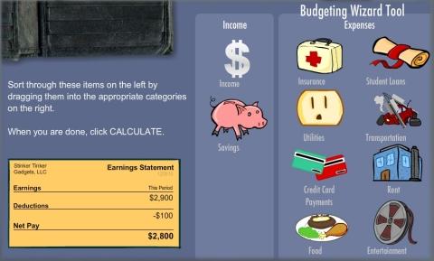 Budget Basics screen grab from the new TCF Bank Financial Scholars program. (Photo: EverFi)