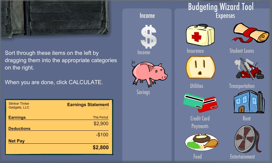 Budget Basics screen grab from the new TCF Bank Financial Scholars program. (Photo: EverFi)