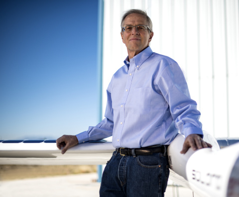 Titan CEO Vern Raburn with a prototype of Titan's solar-powered atmospheric satellite platform (Photo: Business Wire)