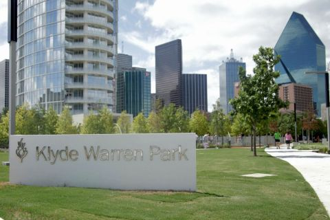 The Park includes a performance pavilion, restaurant, shaded walking paths, a dog park, a children's park, great lawn, water features, and an area for games, providing year-round activities to all citizens of Dallas. (Photo: Business Wire)