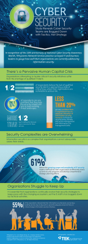 In recognition of the 10th anniversary of National Cyber Security Awareness Month, TEKsystems® Network Services practice surveyed IT and business leaders to gauge how well their organizations are currently addressing information security. (Graphic: Business Wire)