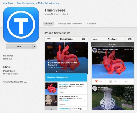 MakerBot Thingiverse launches IOS App. Explore Thingiverse, the world's largest 3D printing community, from your mobile device. http://mbot.co/1er2Xjk