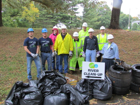 United Water employees with junk pulled out of the Connecticut River. We are proud to participate in ...