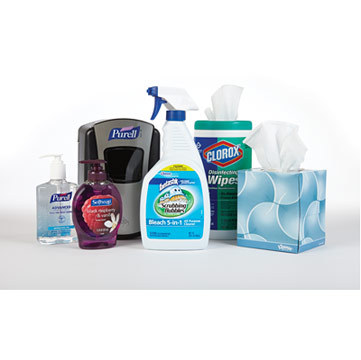 Not even 50 percent of facility managers surveyed by Staples indicated that they ordered critical supplies to help prevent the spread of germs in the office, such as cleaning and disinfecting chemicals. (Photo: Business Wire)